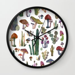 Cactus and Mushrooms NEW!!! Wall Clock