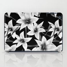 White lilies on a black background . iPad Case