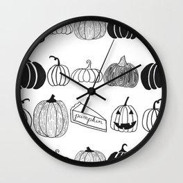 Pumpkin Ink Pattern Black and White Wall Clock