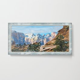THE ORANGE AND BLUE OF ZION CANYON Metal Print