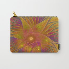 Colorful and Luminous Flower, Abstract Fractal Art Carry-All Pouch