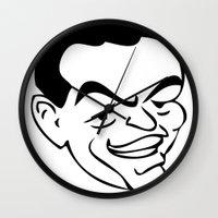 frank sinatra Wall Clocks featuring RatPack Frank Sinatra by Paper Fox Design Studio