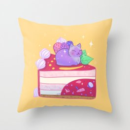 Berry Kitty Cake Throw Pillow