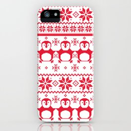 Red Scandinavian Penguin Holiday Design iPhone Case