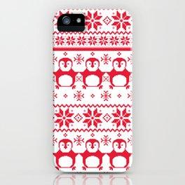 Red Scandinavian Penguin Holiday Design iPhone Case