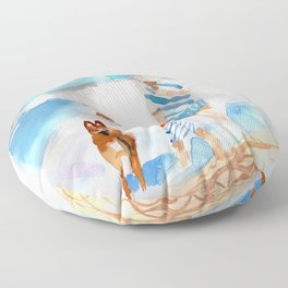 A Day at the Beach Floor Pillow