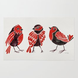 Finches – Red & Black Palette Rug