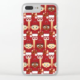 Baseball White and Red - Super cute sports stars Clear iPhone Case