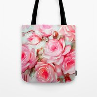shabby chic Tote Bags featuring Shabby Chic Pink by Jacqueline Maldonado