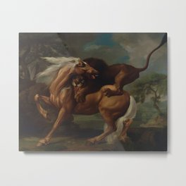 George Stubbs - A Lion Attacking a Horse Metal Print