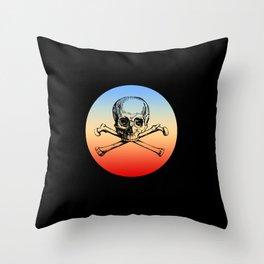 Classic Retro Design Skull & Bones Throw Pillow