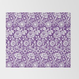 "William Morris Floral Pattern | ""Pink and Rose"" in Purple and White Throw Blanket"