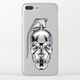 Skull grenade silver Clear iPhone Case