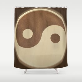 Jin Jang wooden marquetry picture art Shower Curtain