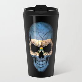 Dark Skull with Flag of El Salvador Travel Mug