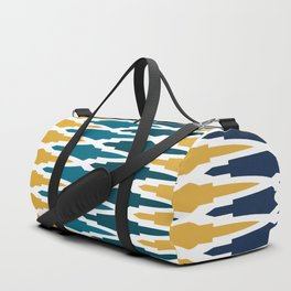 Boho, Geometric Pattern, Blue, Teal, Yellow and Gray Duffle Bag