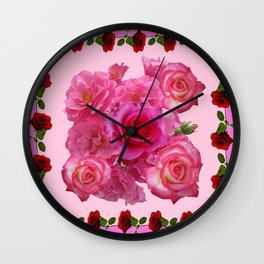 CONTEMPORARY  RED & PINK ROSES PINK PATTERNs Wall Clock