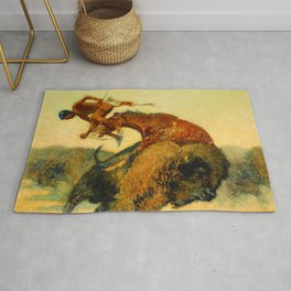 "Frederic Remington Western Art ""Episode – Buffalo Hunt"" Rug"