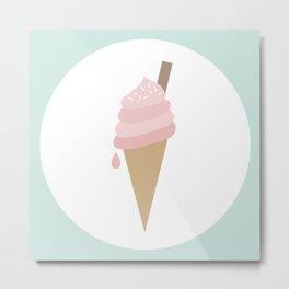 Pink Ice Cream Cone Metal Print