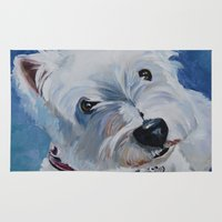 westie Area & Throw Rugs featuring Westie Named Tavin by Karren Garces Pet Art
