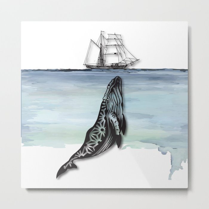 Whale And Boat Metal Print