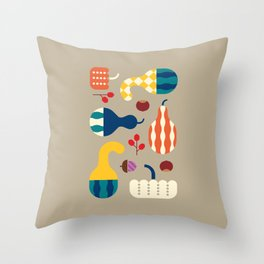 Autumn Gourds Gold Throw Pillow