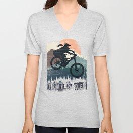 Fox Girl Biker Unisex V-Neck
