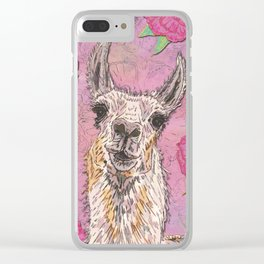 Perfectly Pink Llama Clear iPhone Case