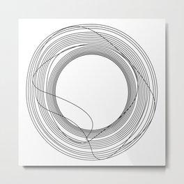 Tangled Black Circles on White pattern design Metal Print