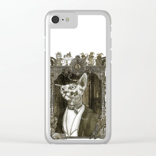 Steampunk Mr. Sphinx Clear iPhone Case