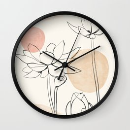 Abstract Flowers sketch art 3 Wall Clock
