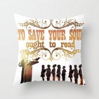 read Throw Pillows featuring Read by Ƃuıuǝddɐɥ-sı-plɹoʍ-ɹǝɥʇouɐ