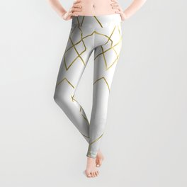 Gold Geometric Marble Pattern Leggings