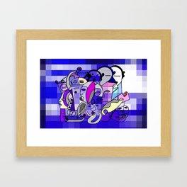 Blue White Commotion Framed Art Print