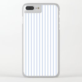 Alice Blue Pinstripe on White Clear iPhone Case