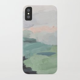 Seafoam Green Mint Black Blush Pink Abstract Nature Land Art Painting iPhone Case