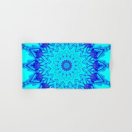 Bright blue turquoise Mandala Design Hand & Bath Towel