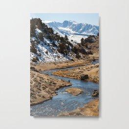 Fishing in Hot Creek Metal Print