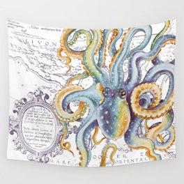 Octopus Steel Blue Vintage Map Wall Tapestry