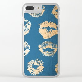 Metallic Gold Lips in Orange Sherbet and Saltwater Taffy Teal Shimmer Clear iPhone Case