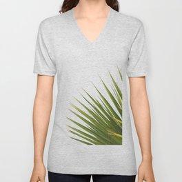 Tropical Palm Green Plant Leaf Minimalist Modern Photo Unisex V-Neck
