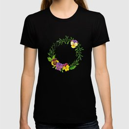 Watercolor pansies wreath T-shirt