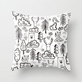 Woodland Animals Large Throw Pillow