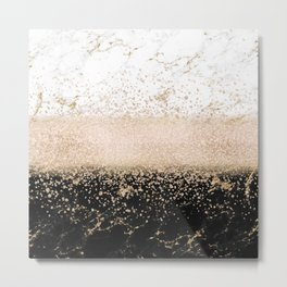 Elegant rose gold confetti marble design Metal Print
