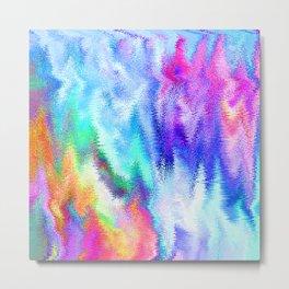 Vibrating Glitch Rainbow Metal Print
