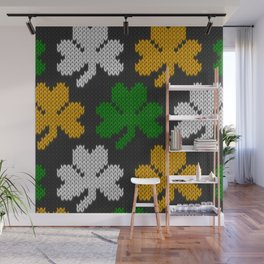 Shamrock pattern - black, orange, green, white Wall Mural