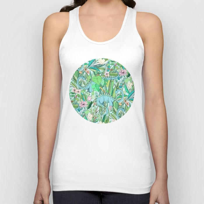 Improbable Botanical with Dinosaurs - soft pastels Unisex Tanktop