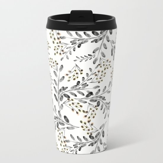 Delicate floral pattern. 1 Metal Travel Mug
