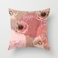 Hellabore line pattern, rose Throw Pillow