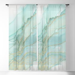 Magic Bloom Flowing Teal Blue Gold Sheer Curtain